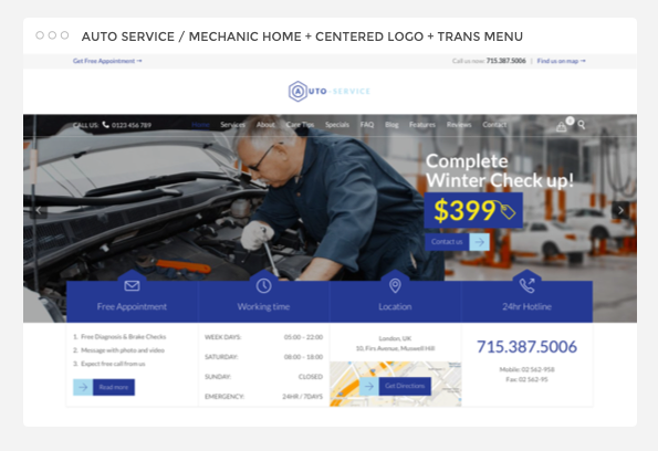 Auto Car Repair Mechanic Shop Responsive Theme